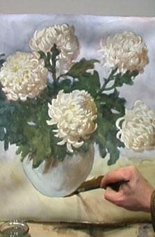 نقاشی گل داوودی