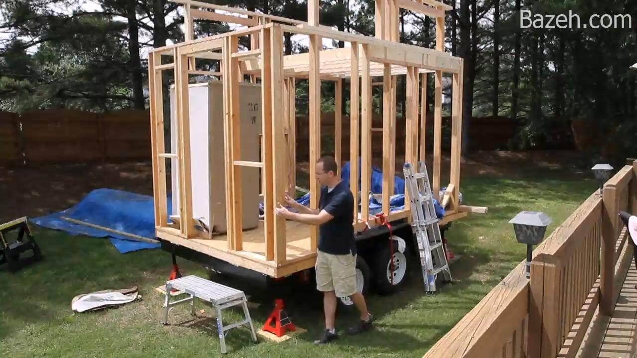 ساخت خانه چوبی بر روی تریلر (دیوار بندی)