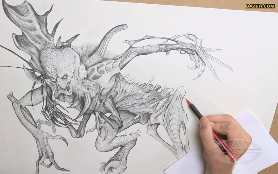 طراحی شخصیت تخیلی با مداد - سایه زنی