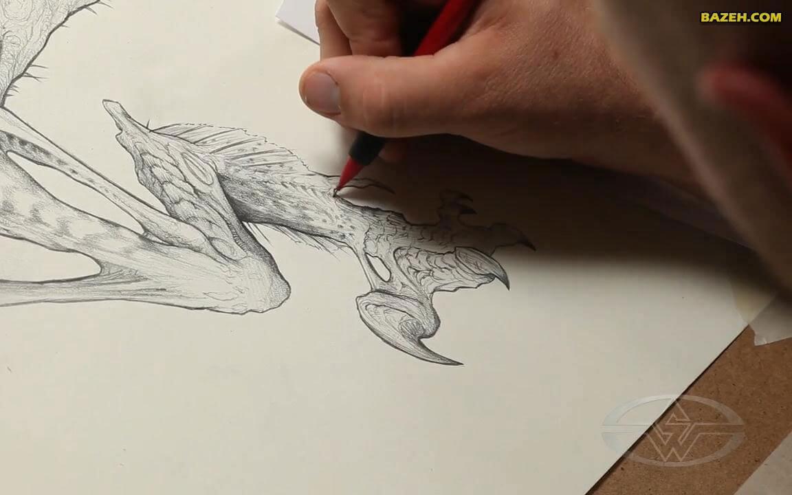 طراحی شخصیت تخیلی با مداد - پاهای عقب